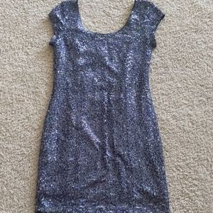 Holographic Sequin Mini Dress